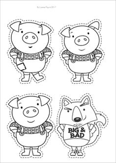 The Three Little Pigs Worksheets and Activities. Character puppets for retelling. Three Little Pigs Houses, Three Little Pigs Story, Nursery Rhyme Crafts, Nursery Rhymes Preschool, 3 Little Pigs Activities, Preschool Activities, Pig Character, Pig Crafts, Puppets