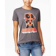 Marvel Juniors' Deadpool Graphic T-Shirt ($24) ❤ liked on Polyvore featuring tops, t-shirts, heather charcoal, graphic tees, mighty fine t shirts, purple graphic tees, charcoal t shirt and graphic design t shirts