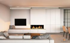Built In Around Fireplace, Fireplace Tv Wall, Custom Fireplace, Modern Fireplace, Fireplace Surrounds, Fireplace Design, Living Room Tv, Living Room With Fireplace, Home And Living