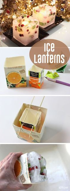 How amazing are these ice lanterns? If you're dreaming of a white Christmas, these lanterns made of ice are perfect. Frozen inside the ice are cranberries and mint leaves for festive color. The lanterns are sized perfectly to hold an LED candle, which makes the blocks of ice glow from within – without melting them. http://www.ehow.com/how_4529669_make-ice-lanterns.html?utm_source=pinterest.com&utm_medium=referral&utm_content=freestyle&utm_campaign=fanpage