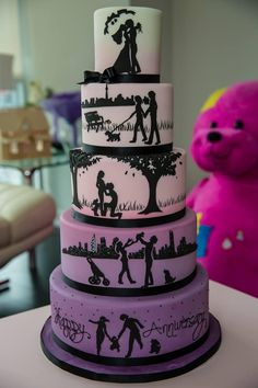 ~ CREATIVE CAKES ~ 5 various colored tiers with couple's silhouettes cake design Gorgeous Cakes, Pretty Cakes, Cute Cakes, Amazing Cakes, Yummy Cakes, Amazing Art, Crazy Cakes, Fancy Cakes, Unique Cakes