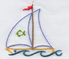These eight applique designs use an underlay of fabric shapes beneath the top main fabric to create a shadow-applique look. Designs: Eight fabric-shadow applique designs in a mixture of sizes -- two sizes and six sizes. Hand Embroidery Videos, Baby Embroidery, Hand Embroidery Stitches, Machine Embroidery Patterns, Hand Embroidery Designs, Vintage Embroidery, Applique Designs, Cross Stitch Embroidery, Embroidery Ideas