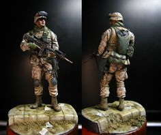 2/4th Marines, Ramadi Iraq 2004. Blast Models USMC 1:35 resin figure, painted up in Vallejo and andrea acrylics again. Had to sculpt in additional shoulder/arm pockets to properly reflect the Marin...