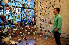 A coffee cup greets Gwyneth Leech's coffee cup installation. It could become the next drawing! Vote Code: 56642.