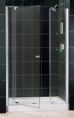 """Allure 75.75"""" x 49"""" Pivot Frameless Shower Door with SlimLine 36"""" and 48"""" Single Threshold Shower Base"""
