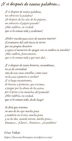 César Vallejo, E se dopo tante parole… Cesar Vallejo Poemas, Poetry Poem, Human Mind, More Than Words, Book Quotes, My Books, Poems, Thoughts, Sayings