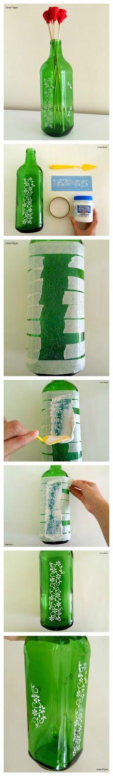Tutorial de como transformar garrafa de suco de uva em vaso decorativo  #artesanato #decoracao #diy #reciclagem #vidro #garrafa #facavocemesmo #tutorial #dica #ideia #criacao #blog #marrispe