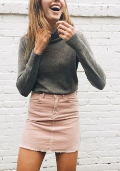Denim pink pastel skirt with turtle neck grey sweater