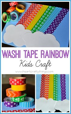 Washi Tape Rainbow Craft for kids. Great for St. Patrick's Day craft or sping craft. | from iheartcraftythings.com