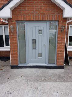 Palladio composite Picasso door in Silver grey Grey Interiors, Composite Door, House Exteriors, Exterior Doors, Picasso, Future House, Garage Doors, New Homes, Yoga