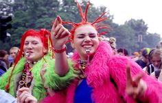 90s ravers: 1990s Raver Fashion- Raves were huge dance parties and those attending these events wore many hippie inspired clothes. A lot of brights colors used.