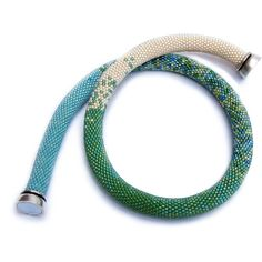 Choker necklace shades green Necklace green shade white Tubolar... (€54) ❤ liked on Polyvore featuring jewelry, necklaces, green necklace, turquoise choker necklace, crochet bead necklace, white bead necklace and beaded choker necklaces