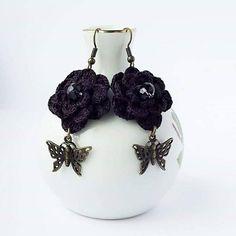 Handmade Earrings with Crystal Crochet Earrings от CatanaHandmade Crochet Accessories, Earrings Handmade, Shoe Boots, Crochet Earrings, Boutique, Creative, Etsy, Vintage, Jewelry