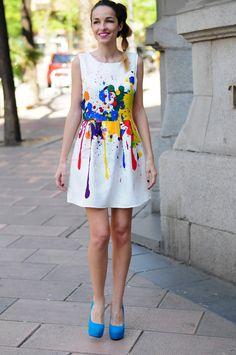 Vestido Con Manchas De Pintura By Corazon Maniqui