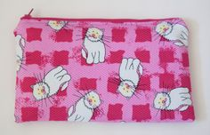 Large Makeup Bag  WHITE CATS on PINK  by BlueBelugaDesigns on Etsy