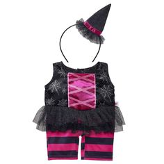 833d49479ed This 2 pc. Black   Pink Witch Costume is frightfully adorable! Dress your  furry friend w  unique Halloween clothing   accessories at Build-A-Bear  Workshop.