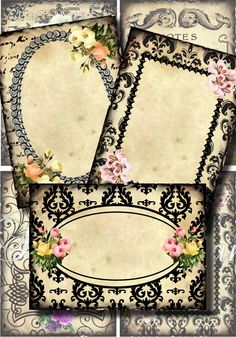 Flowered Journaling Spots Digital Collage Scrapbooking ATC ACEO Backgrounds Vintage Digital Collage Sheet Eggs Owl Bees Butterfly Tags