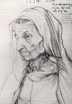 Portrait of Durer's Mother by Albrecht Durer, 1514  in the Kupferstichkabinett, Berlin (Museum of Prints and Drawings) website: http://www.smb.museum/smb/sammlungen/details.php?objID=8=en  wiki: http://en.wikipedia.org/wiki/Portrait_of_the_Artist%27s_Mother_at_the_Age_of_63 Blog: http://ecclectioncollection.blogspot.com/2009/01/classic-naturalism-albrecht-drer.html
