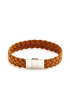 Link Up's Flat Weave Leather Bracelet in brown.