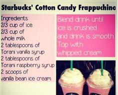 Trying it!! Bethany mota did a DIY cotton candy frappe! Go to YouTube and search Bethany mota cotton candy frappe and shamrock shake and it should pop up!!