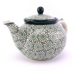 Beautiful teapot with large green blossoms, Polish pottery at http://slavicapottery.com