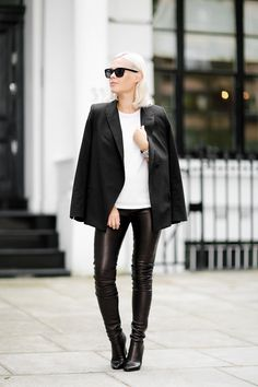 Jessie Bush // bleach blonde, cape blazer, white top, leather pants & ankle boots #style #fashion #wethepople
