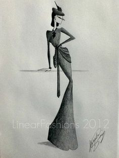1940s Dress Fashion Illustration Evening Gown by LinearFashions, $32.00