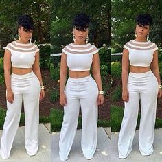 O Neck Short Sleeves Patchwork White Spandex Two-piece Outfits Sexy Outfits, Chic Outfits, Fashion Outfits, Women's Fashion, Fashion Women, Fashion Gallery, Fasion, Pantsuits For Women, Jumpsuits For Women