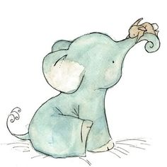 Baby Art --- Bunny Hug -- Art Print by trafalgarssquare. €7,54. #elephant #Animals. Kid's room