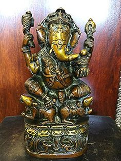 "Ganesha Statue God Ganesh Idol Brass Statue Yoga Hindu Sculpture 9"" Mogul Interior http://www.amazon.com/dp/B00VK0VB34/ref=cm_sw_r_pi_dp_EmHjvb1PJ6X2X"