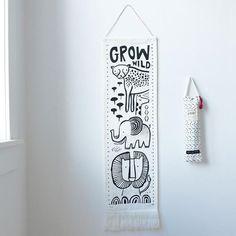 Grow Wild Organic Canvas Growth Chart - Safari