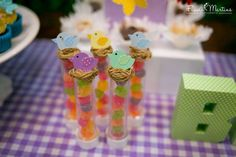 Candy favors at a garden birthday party! See more party ideas at CatchMyParty.com!