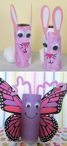 Butterfly activities: LOVE this toilet paper roll butterfly. LOTS of other toilet paper tube crafts for kids on this blog. :-)