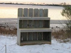 outdoor shelving made of recycles fence boards