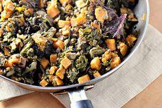 spice lentils with sweet potato & kale