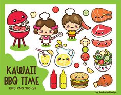 50% OFF SALE, Kawaii clipart, BBQ clipart, kids clipart, picnic clipart, food clipart, summer clipart, grill clipart, party, Commercial use