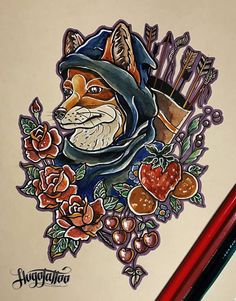 Fox Hood tattoo by Kanapka (Hugo Tattoo)