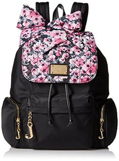Juicy Couture Malibu Pink Floral Black Quilted Backpack -- Details can be found by clicking on the image.
