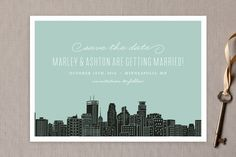 """Big City - Minneapolis"" - Modern, Simple Save The Date Cards in Mint Green by Hooray Creative."