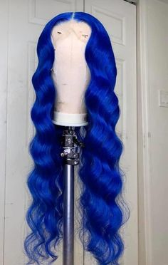 Wig Styles, Curly Hair Styles, Natural Hair Styles, Colored Weave Hairstyles, Colored Wigs, Colored Hair, Birthday Hairstyles, Baddie Hairstyles, Blue Hairstyles