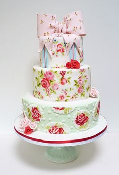 Hand-painted vintage rose floral wedding cake inspired by fabric