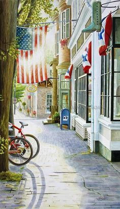 Patriotic-sidewalk-bikes-mainstreet USA