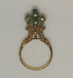 14th Century gold ring with five pearls, found in the castle Chalcis on the Greek island of Euboea.