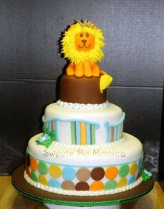 King of the Jungle Baby Shower Cake  Almond Cake with Almond Buttercream  2-26-2012    RAWR!       www.facebook.com/...