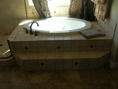 Drop in jacuzzi tub surround Jacuzzi Tub, Whirlpool Bathtub, Drop In Tub, Tub Tile, Laundry Room Bathroom, Tub Surround, Beautiful Bathrooms, Corner Bathtub, House Plans