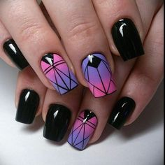Cute Short Acrylic Nails Ideas, You Will Love Them! Amazing black short acrylic nails design with two nails in ombre pink & purple!Amazing black short acrylic nails design with two nails in ombre pink & purple! Black And Purple Nails, Purple Acrylic Nails, Purple Nail Polish, Best Acrylic Nails, Pink Nails, My Nails, Pink Purple, Ombre Nail, Purple Glitter