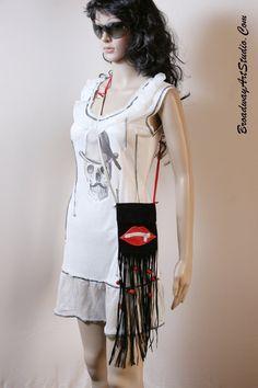 "Handmade ""Lips"" small suede cross body bag by BroadwayArtStudio on Etsy"