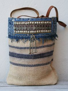 ..a bohemian Denim, pearls, leather, coins ♥ bag ..☮