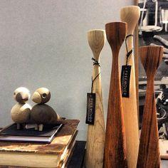 "Original Rolf™ teak and oak candlesticks by freemover.se Maria L Dahlberg and Kay Bojesen ""Lovebirds"" - Scandinavian design classics"