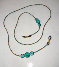 Beaded Teal Eyeglass Holder Eyeglass Chain by CoastalCreationz